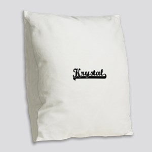 Krystal Classic Retro Name Des Burlap Throw Pillow