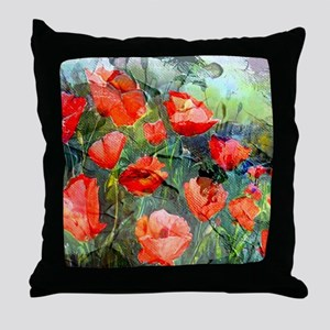 Abstract Poppies Paintings on Canvas Throw Pillow