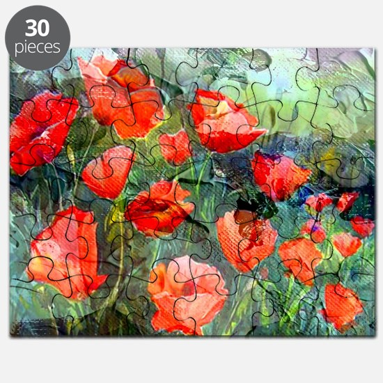 Abstract Poppies Paintings on Canvas Puzzle