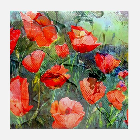 Abstract Poppies Paintings on Canvas Tile Coaster