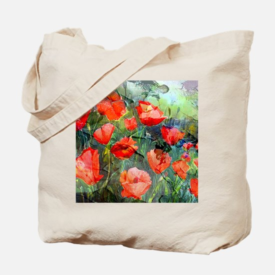 Abstract Poppies Paintings on Canvas Tote Bag
