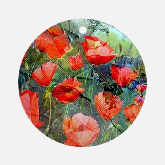 Abstract Poppies Paintings on Canva Round Ornament