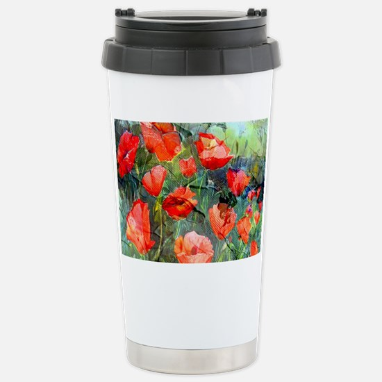 Abstract Poppies Painti Stainless Steel Travel Mug