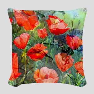 Abstract Poppies Paintings on  Woven Throw Pillow