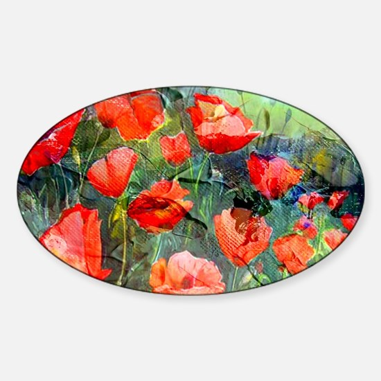 Abstract Poppies Paintings on Canva Sticker (Oval)