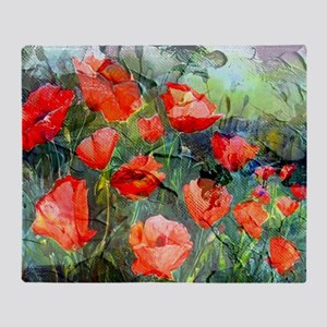 Abstract Poppies Paintings on Canvas Throw Blanket