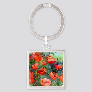 Abstract Poppies Paintings on Canv Square Keychain