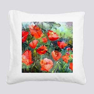 Abstract Poppies Paintings on Square Canvas Pillow