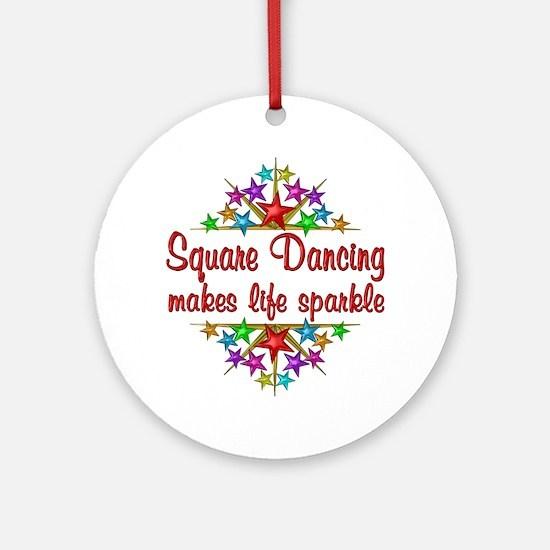 Square Dancing Sparkles Ornament (Round)