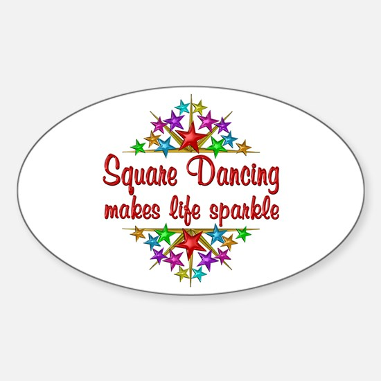 Square Dancing Sparkles Sticker (Oval)
