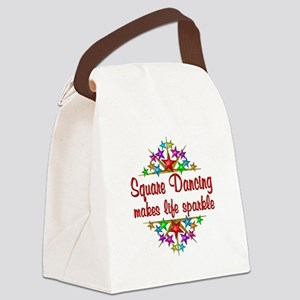 Square Dancing Sparkles Canvas Lunch Bag