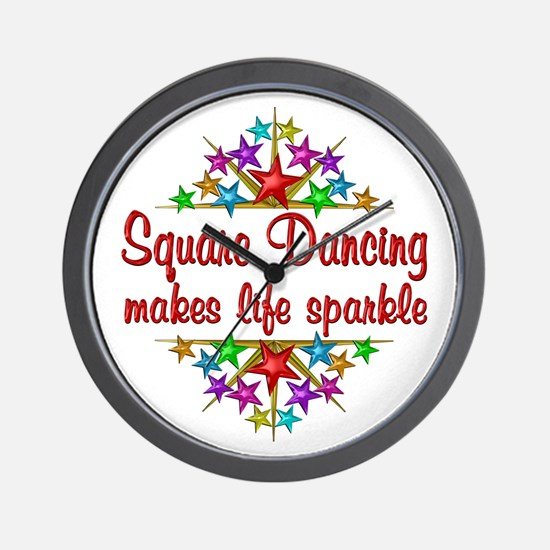 Square Dancing Sparkles Wall Clock