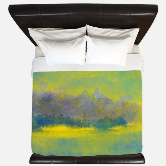 Landscape in Gold, Purple, and Blue King Duvet