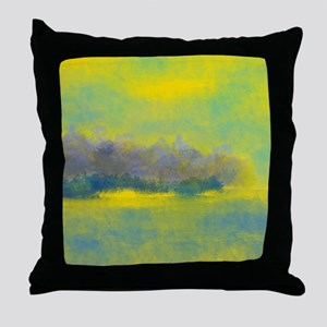 Landscape in Gold, Purple, and Blue Throw Pillow