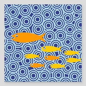 "School of fish Square Car Magnet 3"" x 3"""