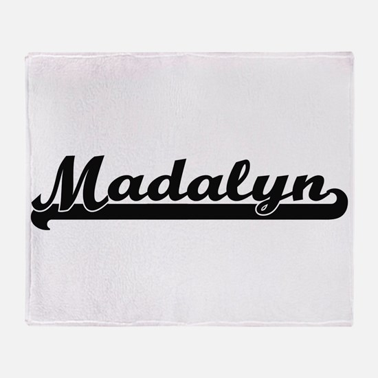 Madalyn Classic Retro Name Design Throw Blanket