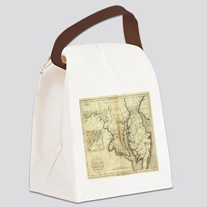 Vintage Map of Maryland (1796) Canvas Lunch Bag
