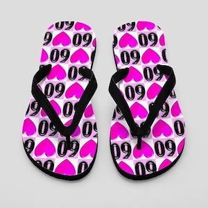 60th Pink Love Flip Flops