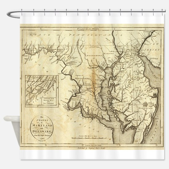 Vintage Map of Maryland (1796) Shower Curtain
