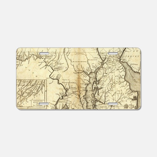 Vintage Map of Maryland (17 Aluminum License Plate