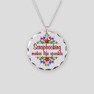 Scrapbooking Sparkles Necklace Circle Charm