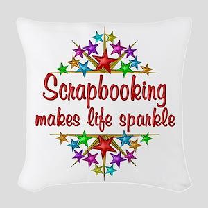 Scrapbooking Sparkles Woven Throw Pillow