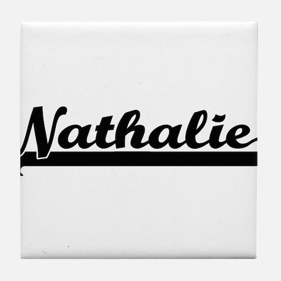 Nathalie Classic Retro Name Design Tile Coaster
