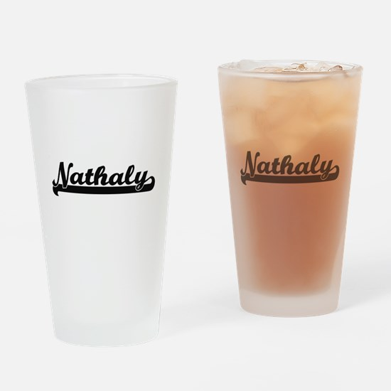 Nathaly Classic Retro Name Design Drinking Glass