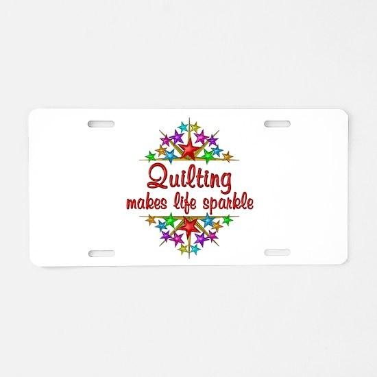 Quilting Sparkles Aluminum License Plate
