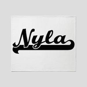 Nyla Classic Retro Name Design Throw Blanket