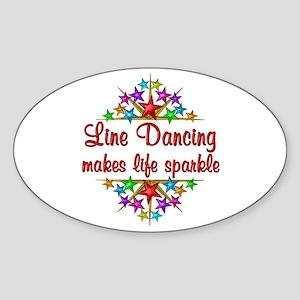 Line Dancing Sparkles Sticker (Oval)