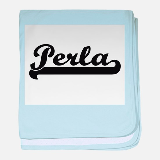 Perla Classic Retro Name Design baby blanket