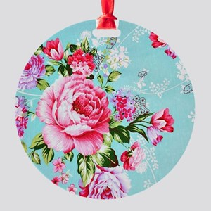 Beautiful Vintage Chic Cottage Rose Round Ornament