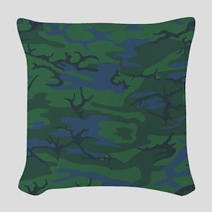 Twilight Green Camo Woven Throw Pillow