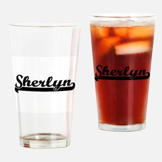 Sherlyn Classic Retro Name Design Drinking Glass