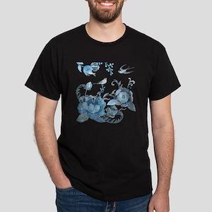 Watercolor Blue Peony and Swallows Dark T-Shirt
