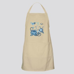 Watercolor Blue Peony and Swallows Apron
