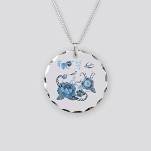 Watercolor Blue Peony and Sw Necklace Circle Charm