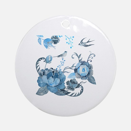 Watercolor Blue Peony and Swallows Round Ornament