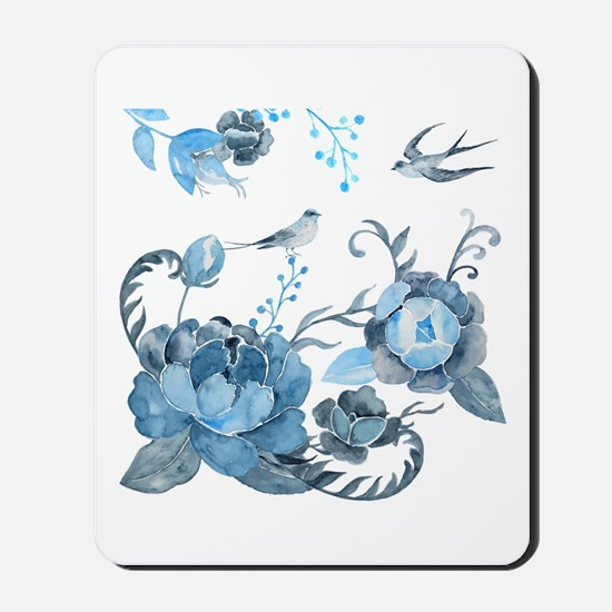 Watercolor Blue Peony and Swallows Mousepad