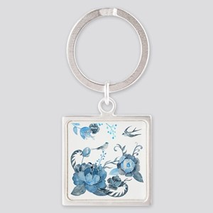 Watercolor Blue Peony and Swallows Square Keychain
