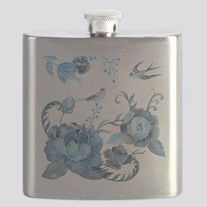 Watercolor Blue Peony and Swallows Flask