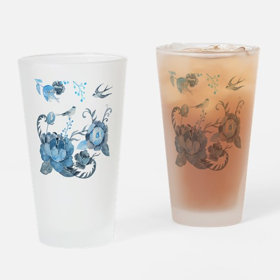 Watercolor Blue Peony and Swallows Drinking Glass