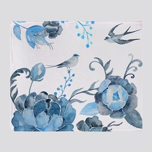 Watercolor Blue Peony and Swallows Throw Blanket