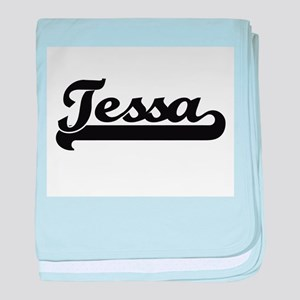 Tessa Classic Retro Name Design baby blanket