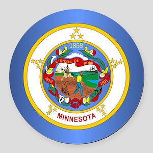 Minnesota Flag Round Car Magnet
