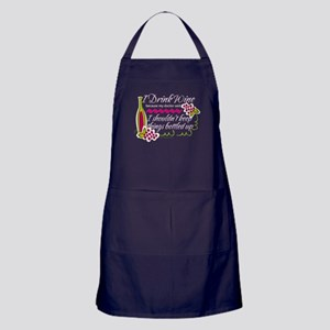 I Drink Wine Funny Quote Apron (dark)