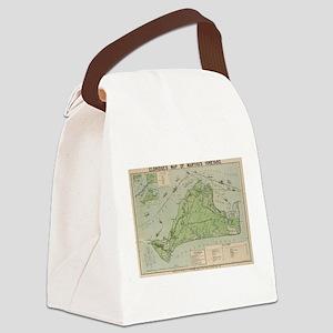 Vintage Map of Marthas Vineyard ( Canvas Lunch Bag