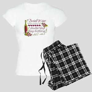I Drink Wine Funny Quote Women's Light Pajamas