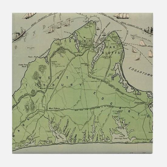 Vintage Map of Marthas Vineyard (1913 Tile Coaster